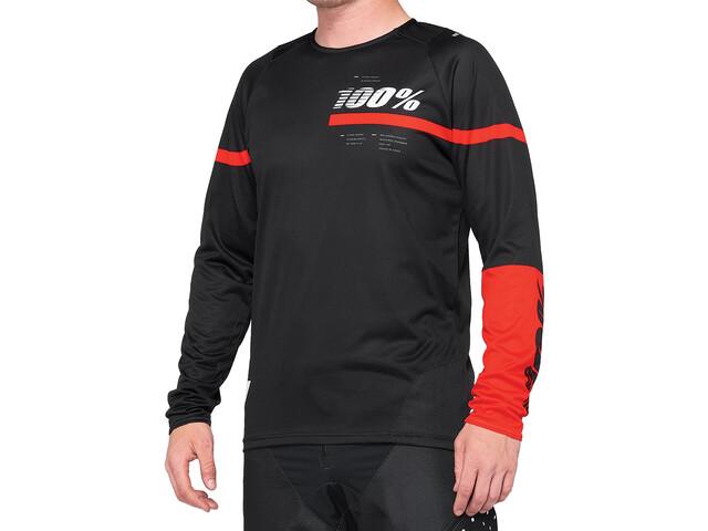 100% R-Core DH Koszulka rowerowa z zamkiem błyskawicznym Mężczyźni, black/red